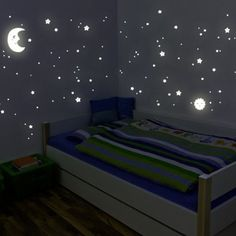 """Adesivi fluorescenti Wandkings """"kit XL sole, luna stelle"""" 114 adesivi su 2 fogli formato A4 DIN, fluorescenti e brillanti al buio: Amazon.it: Fai da te"""