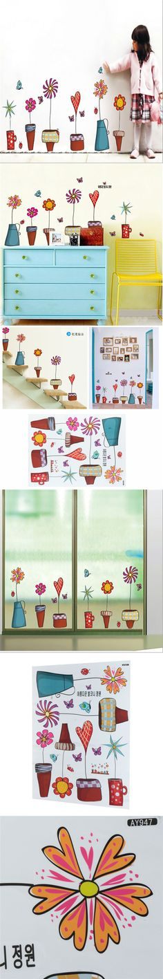 Best Price PVC Cartoon Flower Butterflies Sticker DIY Decal on the Window Glass Wall Kids Bedroom Decoration 45 x 60 cm