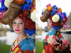 Trendtablet, from Japan, the kimono connection. Kimono by Mamechiyo/Photo by Ayumi Hase/Hair-makeup by M. Costumes Around The World, Japanese Prints, Kimono Fashion, Colorful Fashion, Artsy Fartsy, Fascinator, Color Inspiration, Editorial Fashion, Chakra