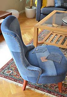 cool chair with old jeans and denim pieced together for upholstery. Nailhead trim and shallow tufted back give it definition.