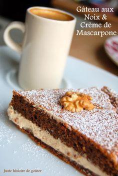 Gâteau aux noix et à la crème mascarpone - Sans beurre, la farine est remplacée par quelques grammes de chapelure
