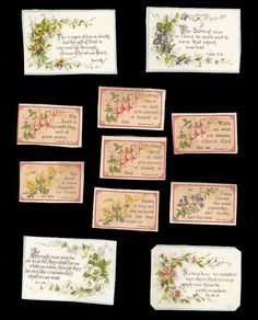R03 - SMALL VICTORIAN RELIGIOUS MOTTO CARDS - FLORAL - SCRIPTURE - BIBLE QUOTE | eBay