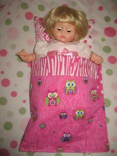 Bitty Twin sleeping bag slumber party set 15 by rileyjanecustoms,
