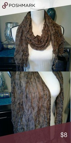 Peace sign scarf Women's very gently pre loved sheer brown scarf with black peace signs and fringe on the ends. Thanks for looking! Bundle to save!! Accessories Scarves & Wraps