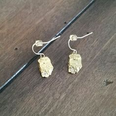 Earring Hammered gold plated anthro Anthropologie Accessories