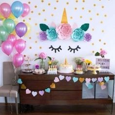 ideas for birthday party unicorn decorations 4th Birthday Parties, Birthday Bash, Birthday Ideas, Fete Emma, Unicorn Themed Birthday, Unicorn Baby Shower, Unicorn Wall, Unicorn Head, Bday Girl