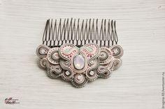 Купить Украшение прически с кристаллом Swarovski - серый, серо-розовый, украшение прически, украшение для волос