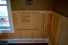 Board and batten tutorial for textured walls in an old (read: uneven) house.