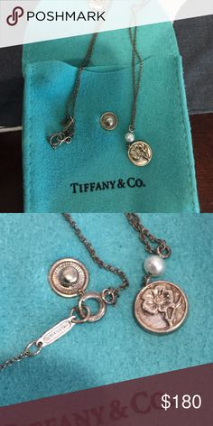 Authentic Tiffany flower pendant necklace w/ pearl Authentic Tiffany flower sterling silver pendant necklace w/ pearl. Great condition! Needs to be polished. Tiffany & Co. Jewelry Necklaces