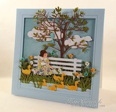 KC Impression Obsession Bench 1 right 3d Cards, Paper Cards, Flower Cards, Paper Flowers, Vintage Easter, Pretty Cards, Card Tags, Creative Cards, Greeting Cards Handmade