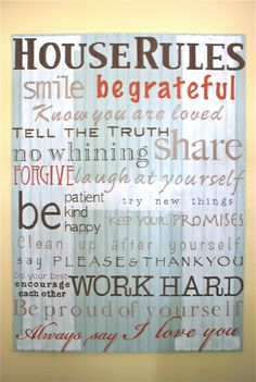 House Rules Hand Painted Sign by StitchesandSigns on Etsy, $120.00