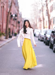 winter to spring transitional outfit - how to style a bright maxi skirt