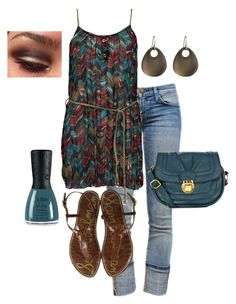 """""""Summer Time"""" by honeybee20 ❤ liked on Polyvore featuring Current/Elliott, Daytrip, Sam Edelman, Alexis Bittar, Nubar and Oasis"""
