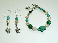 Honu Turtle Genuine Turquoise and Freshwater Pearl by IslandGirl77, $24.99