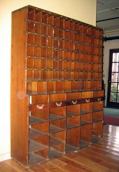 Vintage Post Office mail sorter from Fairfax, Vermont. Craft Room Storage, Fabric Storage, Craft Organization, Organizing Crafts, Craft Rooms, Storage Ideas, Mail Sorter, Wooden Cabinets, Vintage Interiors
