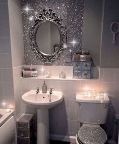 47 Comfy And Glamorous Bathroom Decor Ideas is part of diy-home-decor - Your bathroom needs to be an inviting place, a place where you can relax and wash away the stress and […] Dream Bathrooms, Small Bathroom, Bling Bathroom, Purple Bathrooms, Glitter Paint Bathroom Ideas, Girl Bathroom Ideas, Master Bathroom, Glitter Home Decor, Navy Bathroom
