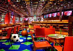 It takes more than a television set and a bar to make a great sports bar. Cafe Restaurant, Restaurant Design, Hockey Pool, Sport Bar Design, Bamboo Roof, Basement Bar Designs, Fort Worth Texas, Bar Interior, Hotel Lobby