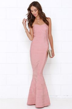 Star Song Blush Pink Strapless Maxi Dress at Lulus.com!
