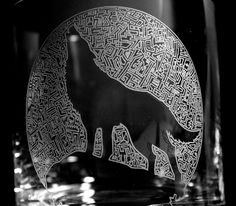 $31.00 Wolf Etched/Sandblasted Crystal Tumbler fine detail handmade in Byron Bay, Australia
