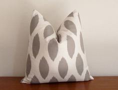 Decorative Pillow Cover Gray  Ivory/ White Ikat by kassapanola, $32.00 for my chairs