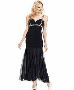 Betsy & Adam Dress, Sleeveless Glitter Crisscross Shuttertuck Mermaid Gown - a great black dress maybe for Veronica