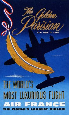 Vintage Travel Poster , Golden Parisian Air France NY to Paris 1950s