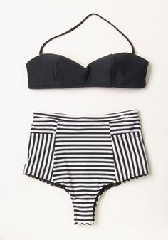 330a68b57d1cd Sunbathing in Stripes Swimsuit Bottom. Stretch out and let the sun rays  smile down on this black-and-white striped bathing suit bottom by Lolli Swim !