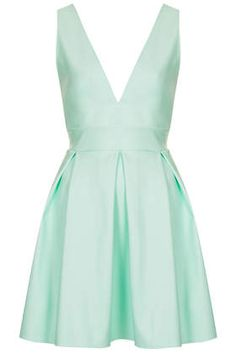 **Scuba Deep V Mint PU Skater Dress by Oh My Love - Clothing Brands - Clothing