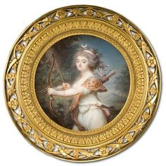 Georges Nicolas Toussaint Augustin (Augustin Dubourg), Lady as Diana, c.1780-5. Watercolour on ivory, Diameter 6.9 cm.