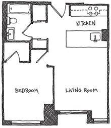 Studio apartments floor plan 300 square feet location for Guest apartment floor plans
