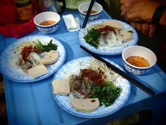 Street side banh cuon with fish sauce for dipping.