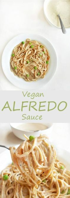 The BEST Vegan Alfredo Sauce Recipe - Perfect for any spaghetti recipe. Vegan meals have never been simpler or more delicious. This recipe uses Almond milk, cauliflower and nutritional yeast. This is a 30 minute recipe and is low carb. | easy vegan dinner, weeknight favorite, comfort food, family dinner