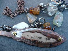 HEROIC SPIRITcopper mica roman glass by livewirejewelrysb on Etsy, $70.00