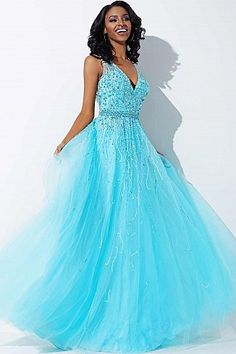 Aqua A-line Prom Dress 29085