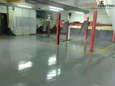 Projecto 162 - Pintura epoxy de pavimento de Oficina | Pintura epoxy de pavimento - A pintura já se encontra concluída assim com as marcações de lugares