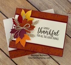 Picks from My Pals! (Mary Fish, Stampin' Pretty The Art of Simple & Pretty Cards) Diy Thanksgiving Cards, Holiday Cards, Geek House, Stampin Up Karten, Leaf Cards, Stamping Up Cards, Pretty Cards, Halloween Cards, Vintage Halloween