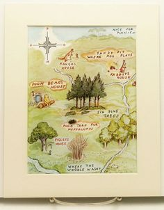 Baby Boy Nursery Art, Winnie the Pooh Map (8 x 10 Vintage Matted Print)  to match my map of Narnia in the livingroom