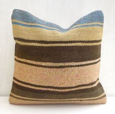 Decorative pillow cover made with a vintage Turkish Hand woven Kilim rug. Add a wonderful Bohemian touch to your decor! Wool Pillows, Kilim Cushions, Kilim Rugs, Throw Pillows, Crochet Instructions, Decorative Pillow Covers, Vintage Home Decor, Hand Weaving, Rustic