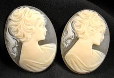 Plastic Cameos  Woman with Ponytail  40x30mm  by beadbarnsupplies, $2.00