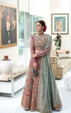 Awesome Lehenga Ideas from Famous Pakistani Celebrities Walima Dress, Pakistani Formal Dresses, Shadi Dresses, Pakistani Wedding Outfits, Indian Bridal Outfits, Indian Fashion Dresses, Fashion Outfits, Pakistani Bridal Couture, Pakistani Lehenga