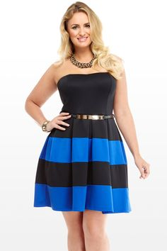 be2af857ef75b Annabel+Colorblocked+Strapless+Dress Trendy Plus Size Clothing