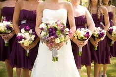 Green Purple Silver Bouquet Spring Strapless Wedding Flowers Photos & Pictures - WeddingWire.com
