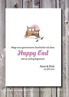 Gastgeschenke - Druck/Wandbild/Print: Hochzeit - Happyend- Eulen