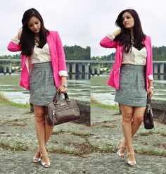 Pink Blazer with Ruffle Blouse and Gray Tweed Skirt - office suitable.