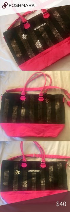 """Victoria's Secret black sequin overnight bag Fantastic condition. No flaws. Not used, but has sat in storage. The black fabric does pick up hair, etc but is removed by a lint roller. Approximate measurements: width 22"""" height approx 14"""" inside depth about 14"""" Victoria's Secret Bags Travel Bags"""