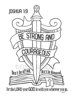 This Be Strong and Courageous coloring page Bible journaling tip-in is just one of the custom, handmade pieces you'll find in our digital shops. Bible Verses For Kids, Kids Bible, Bible Art, Bible Verse Coloring Page, Cross Coloring Page, Journaling, Sunday School Coloring Pages, Bibel Journal, Prayers For Children