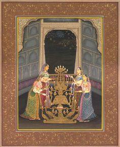 """Lighting the Lamp"" Mughal painting"