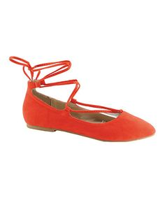 Look what I found on #zulily! Coral Lace-Up Zonia Flat #zulilyfinds