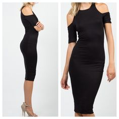 Cold shoulder black midi dress Cold shoulder black rayon jersey spandex knit  dress PLEASE comment on the size you want (when your ready to purchase) and allow me to make you a personalized listing instead of using the bundle option BUNDLE AND SAVE 10% ( no trades ) Dresses