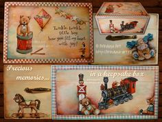 Painted & personalized keepsake box for precious childhood memories - for a little boy. Acrylic painting on wood. Cutie pt. păstrat amintiri preţioase din copilărie – pictată & personalizată pt. un băieţel. Pictură pe lemn, unicat. #paintedbox #cutiepictata #woodpainting #picturapelemn #children #childhood #copii #copilarie #keepsake #memento #personalized #commissionedart #picturalacomanda #oneofakind #unique #unicat #acrylics #acrilice #BrindusaArt Baby Keepsake, Keepsake Boxes, Twinkle Twinkle, Painting On Wood, Decoupage, Shabby Chic, Childhood, Cottage, Joy